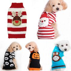 Pet Christmas Sweater Striped Dog Clothes Puppy Sweater Clothing for Dogs & Cats #new