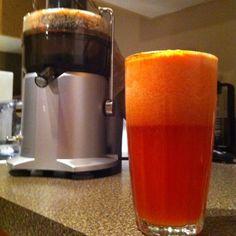 Post run juice - Carrots. Celery. Apple. Strawberries. Pineapple. Tomato.