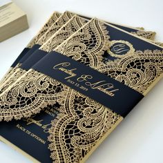 How sexy are these gold foil printed invitations with Chantilly lace laser cut wrap? Handmade Invitations, Laser Cut Wedding Invitations, Wedding Invitation Design, Black And Gold Invitations, Laser Cut Invitation, Invites, Starry Night Wedding, Gold Foil Print, Wedding Accessories