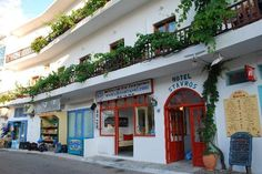 "Hotel Stavros, one of the first places you see when you get off the ferry in Sifnos, is featured prominently in my novel ""Ring of Fire."" (linked to from my website, in my profile)"
