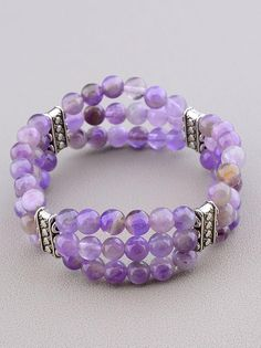 Layered amethyst beaded bracelet 16cm / 6.3 with | Etsy