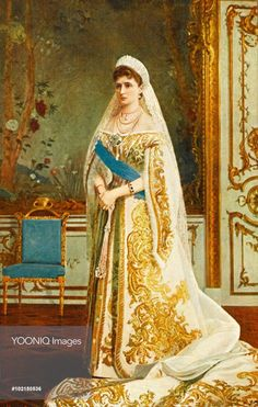 Empress Alexandra Fyodorovna in a splendid Russian court dress