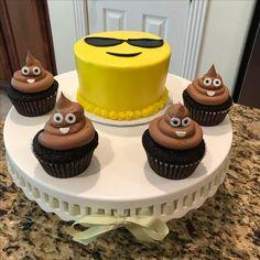 Cool sunglasses emoji cake and poopie emoji cupcakes. https://www.facebook.com/sweetnsassycakesbyeva