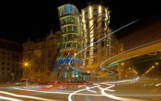 Download wallpapers Dancing House, Nationale-Nederlanden building, Prague, Czech Republic, evening, city lights, Fred and Ginger, Vlado Milunic, Frank Gehry