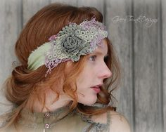 Irish Rose Headband / Shabby / Romantic / by GreenTrunkDesigns, $34.00