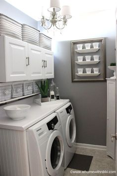 Bigger Laundry Room Or Bigger Closet Laundry room organization Small laundry room ideas Laundry room signs Laundry room makeover Farmhouse laundry room Diy laundry room ideas Window Front Loaders Water Heater Laundry Room Remodel, Laundry Room Cabinets, Laundry Closet, Laundry Room Organization, Diy Cabinets, Basement Laundry, Laundry Room Countertop, Laundry Shelves, Garage Laundry