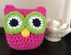 Crochet Owl Pink and Green Charity Donation by SarahRuthCrochet