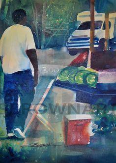 Watermelon Man Watercolor Print African American Art by SBrownART