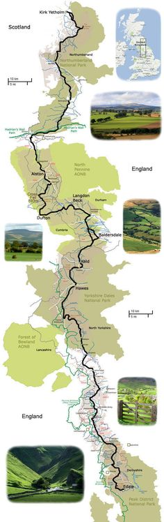 The Pennine way from Derbyshire to Scotland over the Pennines and the Cheviots. Tough but spectacular walk.....