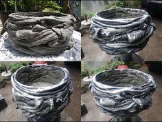 How to Make Beautiful Old Clothes Rags Cement Pot Cement Flower Pots, Diy Concrete Planters, Cement Art, Concrete Crafts, Concrete Projects, Concrete Garden, Diy Planters, Succulent Planters, Glass Garden