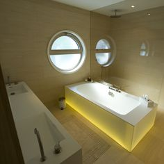 Haus K. - Wien www.wagner-fenster.at Aluminium, Modern, Bathtub, Bathroom, Design, Windows And Doors, Wood, Standing Bath, Bath Room