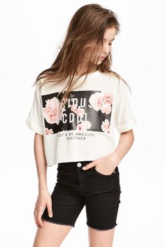 Cropped top - White - Kids | H&M GB 1