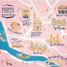 Map of Porto Douro Portugal, Visit Portugal, Spain And Portugal, Portugal Travel, Portugal Destinations, Europe Destinations, Travel Maps, Travel Posters, Plan Ville