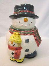 MR SNOWMAN & BABY HOLIDAY COOKIE JAR HANDPAINTED CARDINAL SNOWFOLK