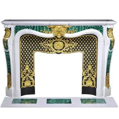 """Païva""  Louis XV Style Fireplace in Carrara with Malachite Inlays 
