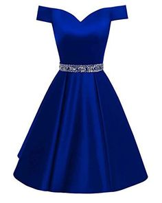 Prom Dresses Off The Shoulder Backless Homecoming Dress,Royal Blue Beaded A Line Satin Cocktail Dres on Luulla