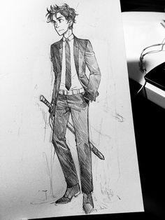 Percy in a black suit. De-stress doodle!