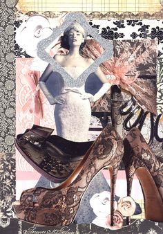 """""""Valentino Lace"""" 1-8-13 Model is an ad from Bride's magazine, Pink lace pair of shoes are Valentino."""