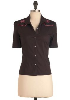 Western for the Better Top - Short, Brown, Pink, Embroidery, Casual, Short Sleeves, Rockabilly, Vintage Inspired, 70s