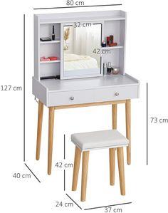 Girls Vanity Table, Office Desk, Nightstand, Interior Design, Furniture, Amazon Fr, Home Decor, Quartos, Pine