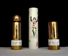 Vintage Tussy Optimiste Enamel Pierrot Harlequin perfume lipstick case 1949. Unique and beautiful.