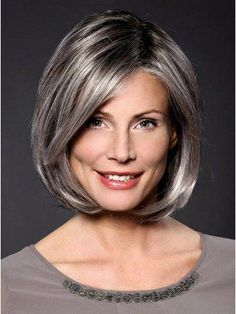 Lace Front Grey Medium Straight Synthetic Hair Wig #BangsHairstyle