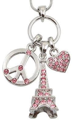 Gorgeous Silver Tone 3D Pink Crystal Eiffel Tower, Peace Sign, Heart Charm Necklace Girls, Teens, women Necklaces by Glamour Girl Gifts http://www.amazon.com/dp/B00N5WAQRW/ref=cm_sw_r_pi_dp_Lzgoub1T4VDF4