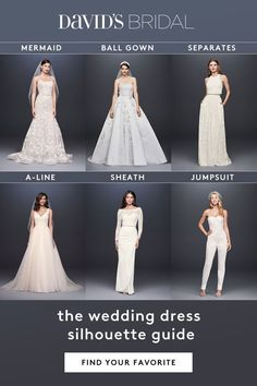 Choose from wedding dress styles from ballgown to mermaid to sheath. David's Bridal is here to help pinpoint the wedding dress silhouette that brings out the best in each bride, especially suited to her style and body type. Cute Wedding Dress, Dream Wedding Dresses, Wedding Dress Styles, Bridal Dresses, Wedding Gowns, Prom Dresses, Wedding Outfits, Perfect Wedding, Wedding Reception
