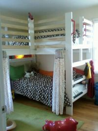 L-Shaped Triple Loft Bunk Bed for Youth, Tween, Teen College & Adults