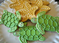 Items similar to Sea Creature Cookies Sea Turtle Starfish Sea Shell Sand Dollar Beach Theme Decorated Sugar Cookies Birthday Cookie Favors One Dozen on Etsy Summer Cookies, Fancy Cookies, Iced Cookies, Cut Out Cookies, Royal Icing Cookies, Cupcake Cookies, Cupcakes, Flower Cookies, Heart Cookies