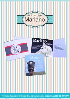 Mariano amante de los caballos. Tarjeta formal plegada para la familia y otra más desestructurada para sus amigos.
