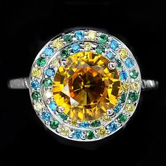 A Vintage 4.15CT Round Cut Yellow Sapphire Halo Ring