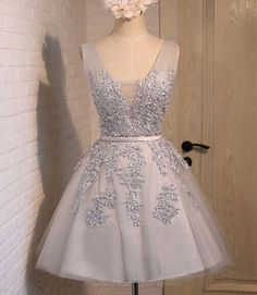 short prom dress, grey/silver prom dress, junior off shoulder homecoming dress, lovely prom dress, lace up prom dress, cheap homecoming dress with applique, homecoming dress