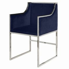 Anabelle Navy Velvet & Brass Chair by World's Away is a modern chair that fits almost anywhere. This Navy velvet dining & occasional chair has a brass frame. Rattan Dining Chairs, Modern Dining Chairs, Dining Chair Set, Room Chairs, Side Chairs, Outdoor Dining, Dining Area, Dining Table, Colorful Chairs