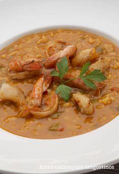 Arroz caldoso con langostinos Rice Recipes, Salad Recipes, Healthy Recipes, Dessert Recipes, Delicious Recipes, Salty Foods, Food Decoration, Bon Appetit, Pasta