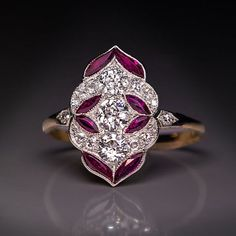 Antique Early Art Deco Diamond Ruby Jewelry Ring