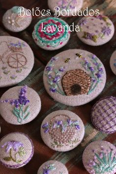 Botões Bordados - Lavanda - Lilian Schnepper