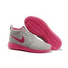 Helt nye Nike Roshe Run Mid Lysgrå Pink Dame Skobutik | Køligt Roshe Run Mid Skobutik | Nike Skobutik Til Salg | denmarksko.com