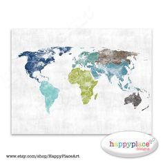 Very large custom world map print or printable world map art red green and blue world map watercolor texture world map poster watercolor world map world map for boys room map print map of continents gumiabroncs Choice Image