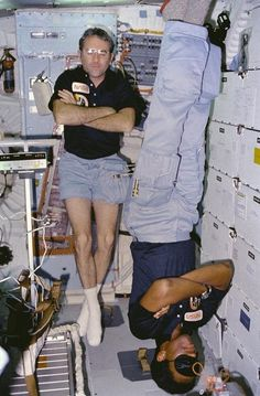 Two astronauts asleep on Challenger's middeck, August 9th 1983 - xpost from r/historyporn [673 x 1024] : space