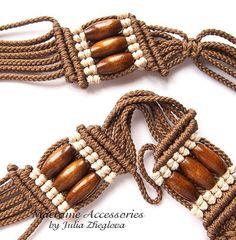 Macrame Tutorial Birch belt with free threads wooden por makrame