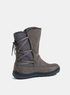 dc50e97862d0 Šedé dámské semišové kotníkové boty s vnitřním umělým kožíškem Camper Peu  Pista