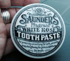 Saunders Fragrant White Rose Tooth Paste Victorian Pot Lid Vintage Bottles, Vintage Tins, Vintage Ceramic, Tooth Paste, Pot Lids, Old Antiques, Vintage Advertisements, White Roses, Minis