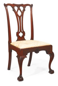 Sotheby's IMPORTANT AMERICANA 1/23-25/15 lot 882. FINE AND RARE CHIPPENDALE CARVED MAHOGANY SIDE CHAIR, POSSIBLY BY THOMAS TUFT (1740-1788), CARVING POSSIBLY BY RICHARD BUTTS, PHILADELPHIA, PENNSYLVANIA, CIRCA 1770. Slip seat and chair marked IIII. Height 39 3/4 in. Estimate 12,000 — 18,000 USD. LOT SOLD. 25,000 USD (Hammer Price with Buyer's Premium). PROVENANCE: THE ESTATE OF BERNARD PALITZ. Mrs. Charles Pemberton Fox, Philadelphia, Pennsylvania. LITERATURE: William Macpherson Hornor, Jr…