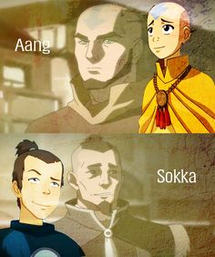 Aang and Sokka in The Legend of Korra
