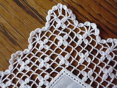 Ravelry: Filet crochet stueck's Handkerchief with large delicate edge Crochet Boarders, Crochet Motifs, Crochet Diagram, Crochet Stitches Patterns, Crochet Art, Thread Crochet, Filet Crochet, Crochet Designs, Crochet Crafts