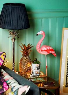 Living room table styling, featuring a gold pineapple and fairy lights. Who doesn't love some kitsch flamingo decor? Colourful home, and colorful interior inspiration. How to use colour in your home decor. Tropical Interior, Tropical Decor, Tropical Furniture, Barbacoa, Estilo Kitsch, Kitsch Decor, Tropical Bedrooms, Flamingo Decor, Sweet Home
