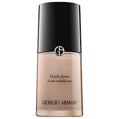 Fluid Sheer - Giorgio Armani, $62: A cult-favorite, multitasking illuminator and complexion perfecter.  -What it does: Perfect, sculpt, and illuminate the skin with Fluid Sheer: Featuring a lightweight texture and sheer coverage formula in a versatile range of shades, it can be used as an eye shadow base, blush, or bronzer. Ideal for all skin types.