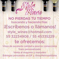 STYLE WINES MX es una empresa mexicana dedicada a la venta y distribución de vinos de mesa y sus complementos, nuestra misión es invitar a la gente a que pruebe nuestros vinos, los cuales vienen de distintas regiones a nivel internacional. Contamos con precios comerciales y entregas personales en el DF y Área metropolitana. ¡Anímate! Y contáctanos a: style_wines@hotmail.com 55 32234908 #stylewinesmx #vinosdemesa #contactostyle