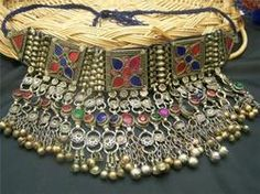Tribal Chokers-Afghan Old Tribe Kuchi Bride Silver Necklace Bellydance from Kuchi Jewellery. Big collection of Silver Chokers from pakistan. Also deals in Wholesaler and Supplier of Tribal Chokers-Afghan Old Tribe Kuchi Bride Silver Necklace Bellydance Silver Choker, Silver Necklaces, Silver Jewelry, Jewelry Necklaces, Jewellery, Handmade Jewelry Bracelets, Tribal Jewelry, Body Chains, Hair Jewels